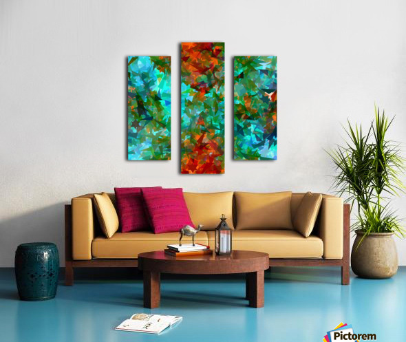 psychedelic geometric abstract pattern in green blue orange Canvas print