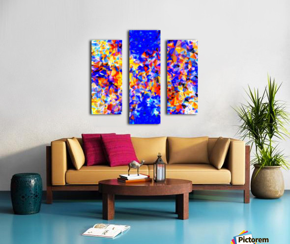psychedelic geometric triangle abstract pattern in blue orange yellow Canvas print