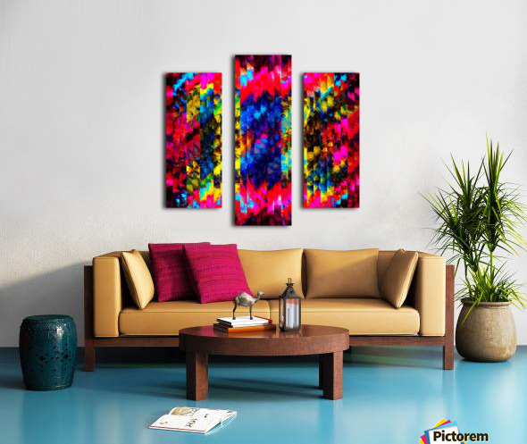 psychedelic geometric painting abstract pattern in red pink blue yellow Canvas print