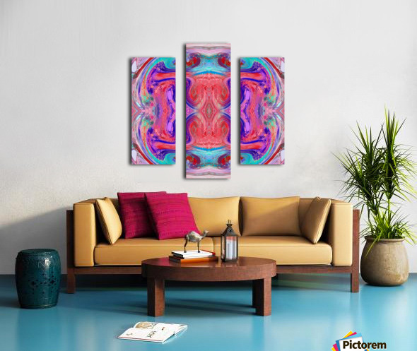 psychedelic geometric symmetry abstract pattern in red pink blue Canvas print