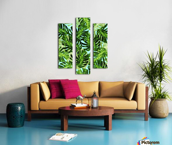 Watercolor leaves tropical I Canvas print