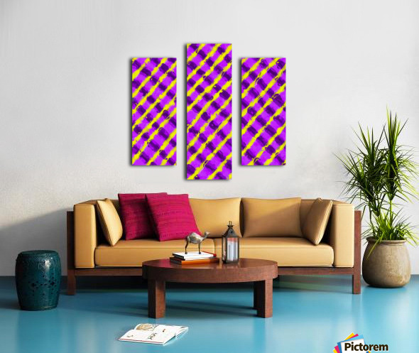 line pattern painting abstract background in purple and yellow Canvas print