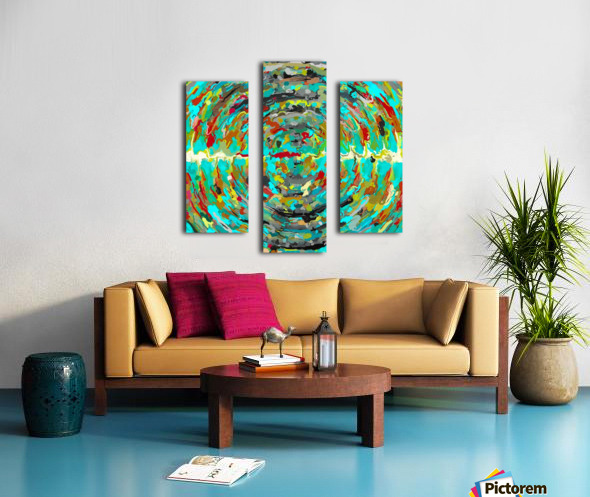 psychedelic circle pattern painting abstract background in green blue yellow brown Canvas print