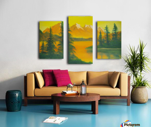 Yellow sky- snow capped mountains. Canvas print