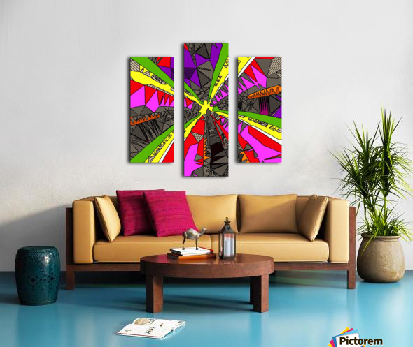 psychedelic geometric pattern drawing abstract background in red pink green yellow Canvas print