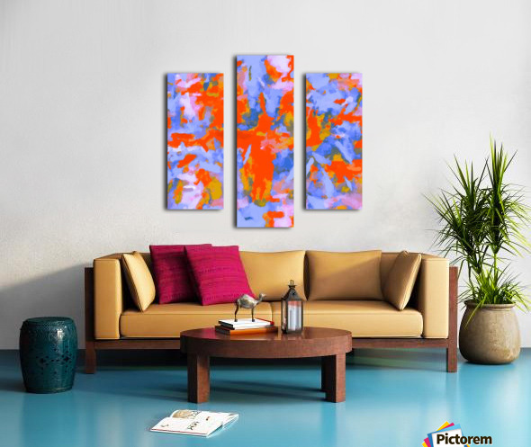 splash painting texture abstract background in red blue orange Canvas print