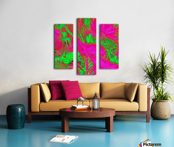 closeup palm leaf texture abstract background in pink and green Canvas print