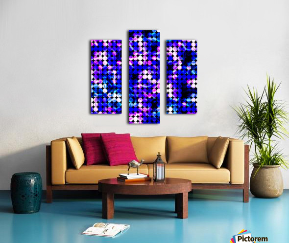 circle pattern abstract background with splash painting abstract in blue and pink Canvas print