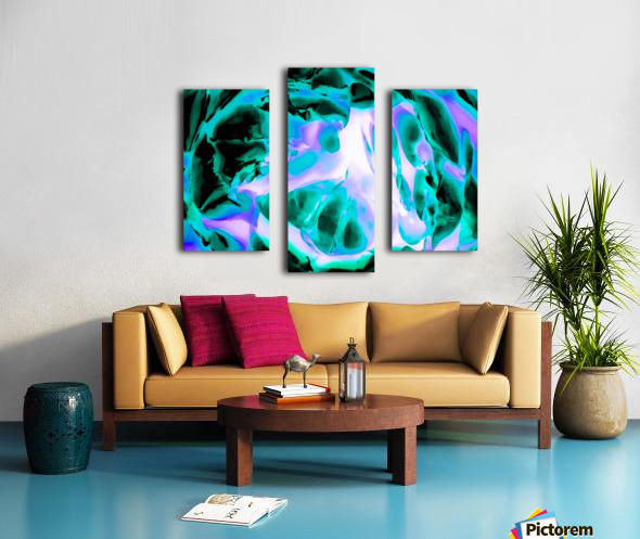 closeup rose texture abstract background in blue purple and green Canvas print