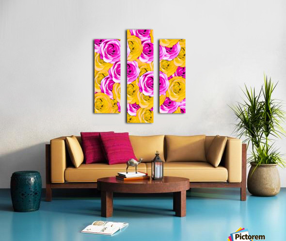 pink rose and yellow rose pattern abstract background Canvas print