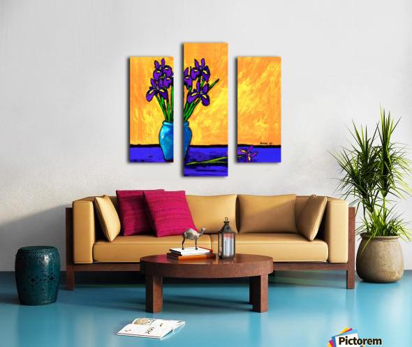 IRIS BOUQUET ON YELLOW Canvas print
