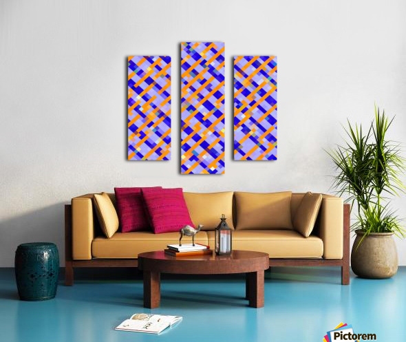 geometric pixel square pattern abstract background in orange blue purple Canvas print