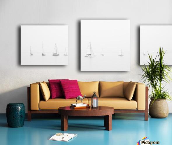 sea black and white ocean boats Canvas print