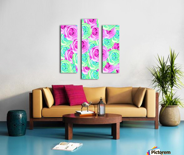 blooming rose texture pattern abstract background in pink and green Canvas print
