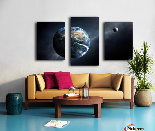 Earth and moon space view Canvas print