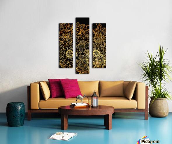 Floral Doodle Gold G523 Canvas print