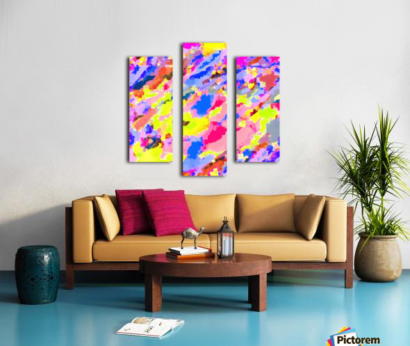 psychedelic geometric square pixel pattern abstract in pink yellow blue Canvas print