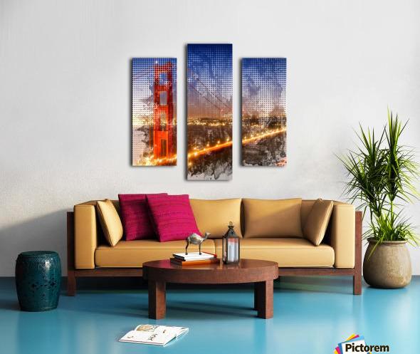 Graphic Art Golden Gate Bridge   watercolour style Canvas print