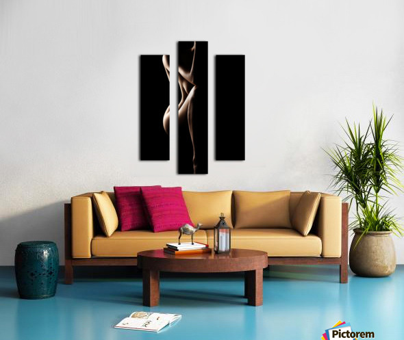 Silhouette of nude woman Canvas print