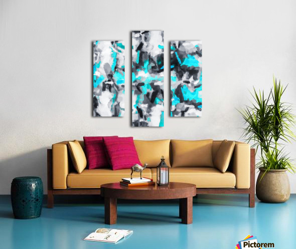 splash painting texture abstract background in blue and black Canvas print