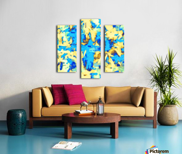 splash painting texture abstract background in blue and yellow Canvas print