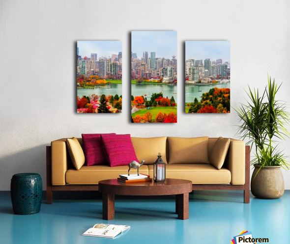 colorful autumn landscape of a modern city by the river Canvas print