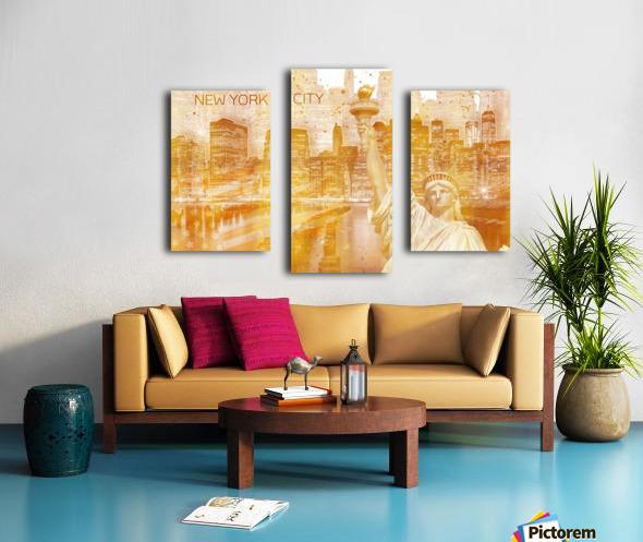 Graphic Art MANHATTAN Collage | golden Impression sur toile