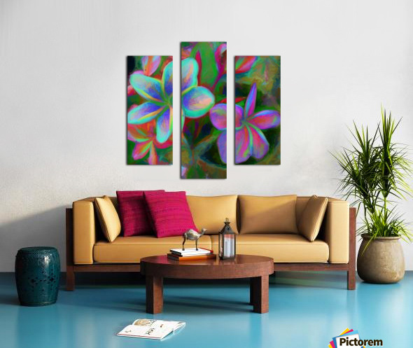 Painterly Frangipanis Canvas print
