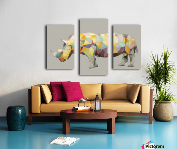 Rhino Mosaic Canvas print