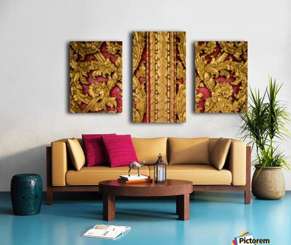 Golden wood carvings Canvas print