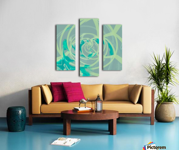 spiral line pattern painting texture abstract in blue green Canvas print