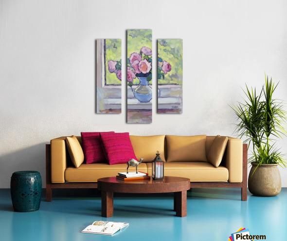 Tea Roses Bouquet on the Windowsill Canvas print