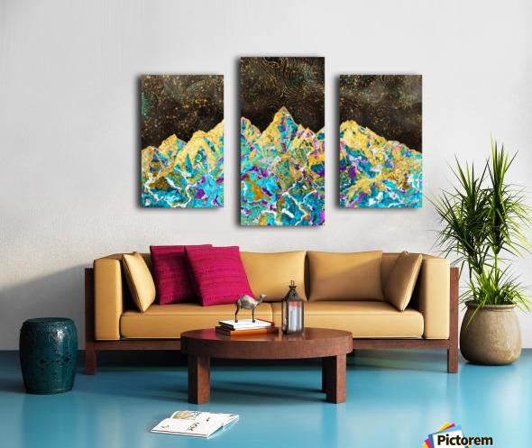 Gold Turquoise Mountain - Illustration I Canvas print