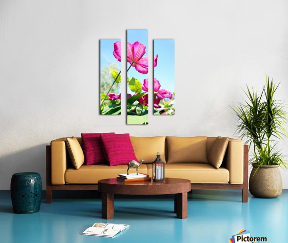 Pink flower and green leaves Canvas print