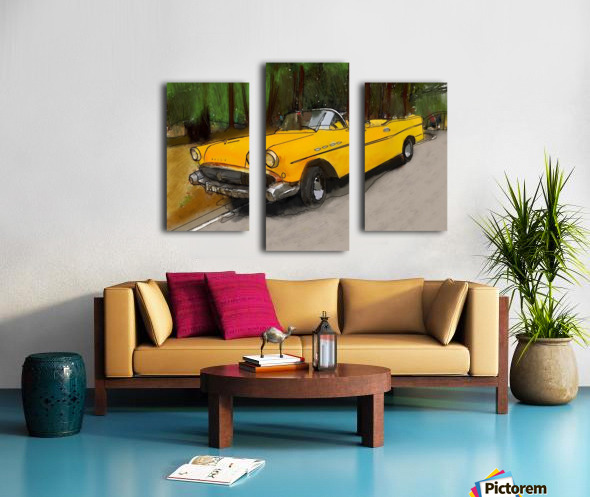 Cuba Yellow Car Canvas print