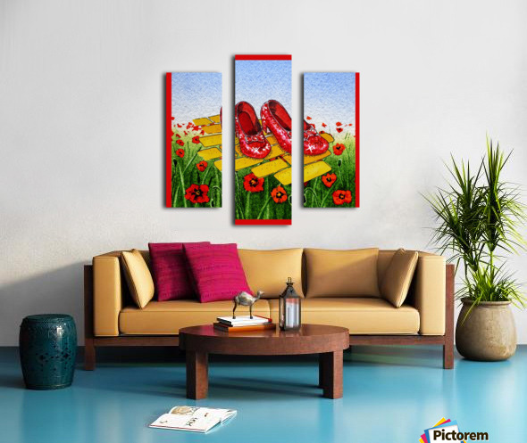 Ruby Slippers Yellow Brick Road Red Poppies Field Canvas print