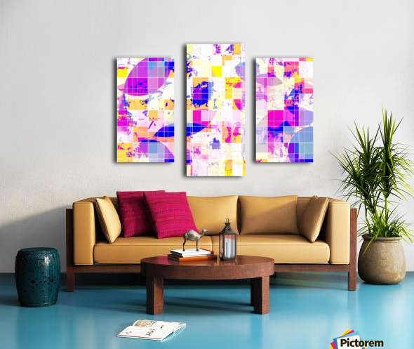 geometric square and circle pattern abstract in pink blue yellow Canvas print