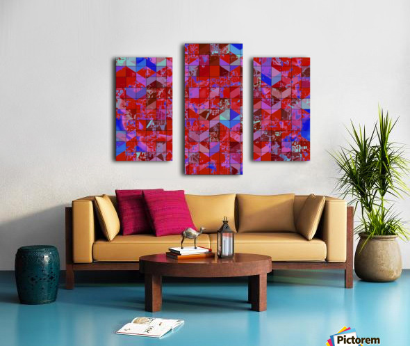 geometric square and triangle pattern abstract in red and blue Canvas print
