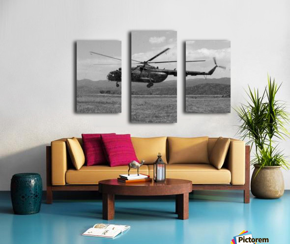 A Macedonian MI-17 helicopter landing as part of a medical transport flight. Canvas print