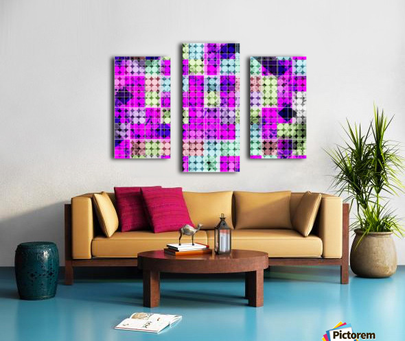 geometric square and circle pattern abstract in pink blue Canvas print