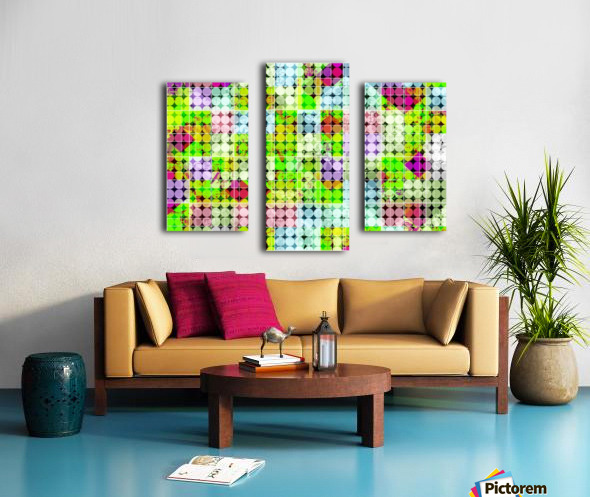 geometric square and circle pattern abstract in green pink Canvas print