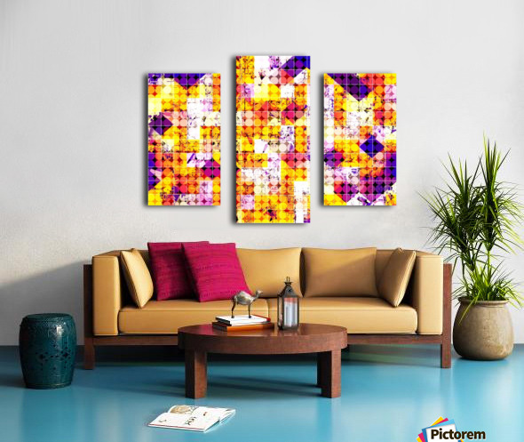 geometric square and circle pattern abstract in orange blue Canvas print