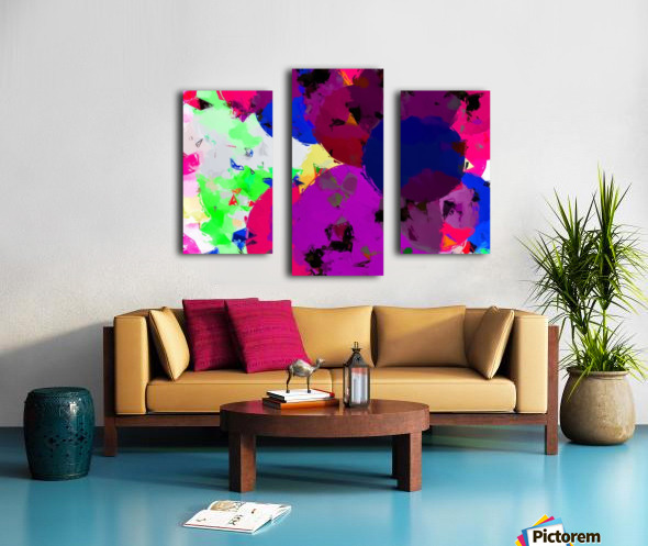 geometric circle pattern abstract in pink blue green Canvas print