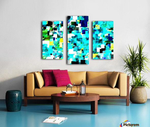 geometric square pixel pattern abstract in blue and yellow Canvas print