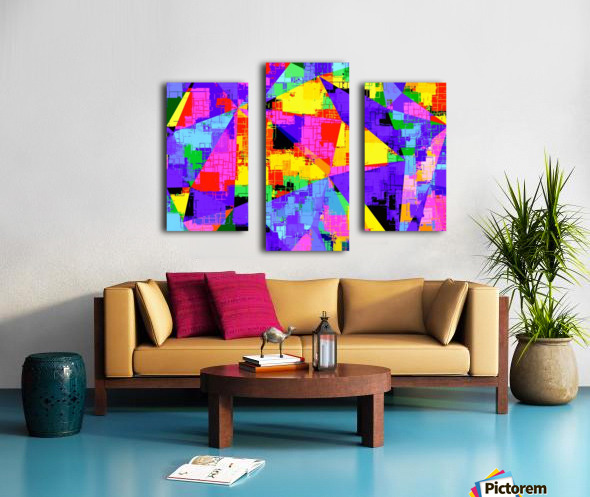geometric triangle abstract background in purple blue pink yellow Canvas print