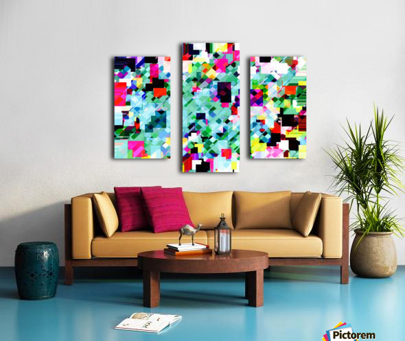 geometric square pixel pattern abstract in green pink blue yellow Canvas print
