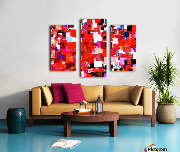geometric square pixel pattern abstract in red blue pink Canvas print