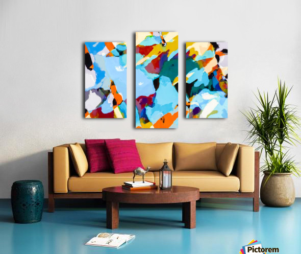 painting texture abstract in blue orange green yellow Canvas print