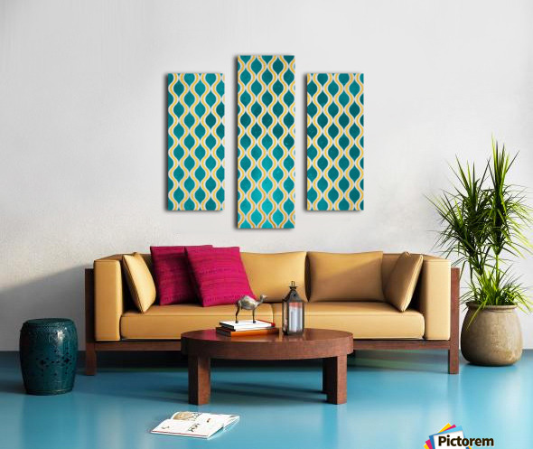 Gold - Turquoise pattern I Canvas print