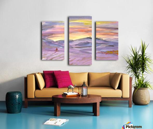 Sunset ski trip Canvas print